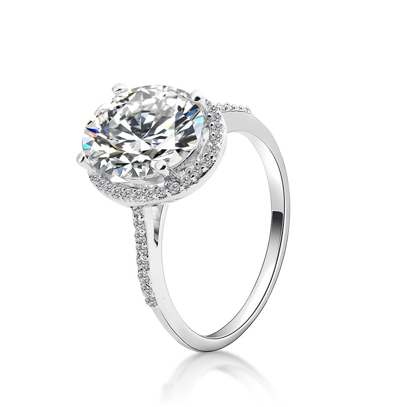 4 CT Oval Cut Created Diamond Halo Ring