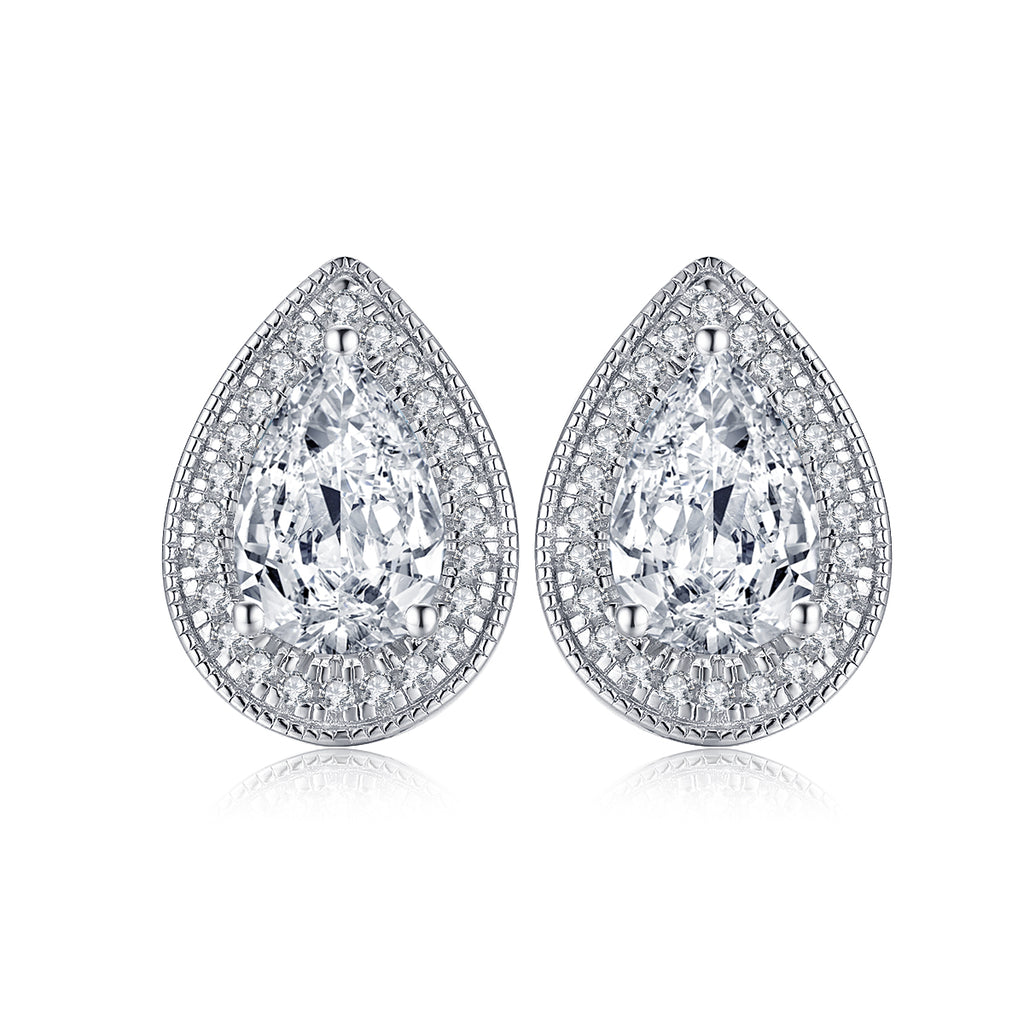 Halo Pear Created White Diamond Stud Earrings
