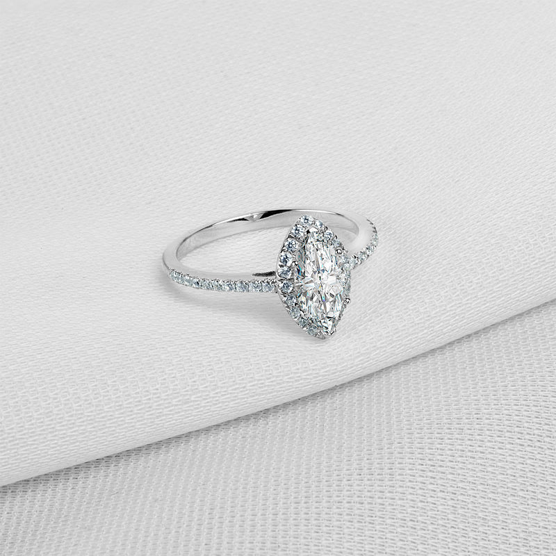Marquise Created White Diamond Halo Ring