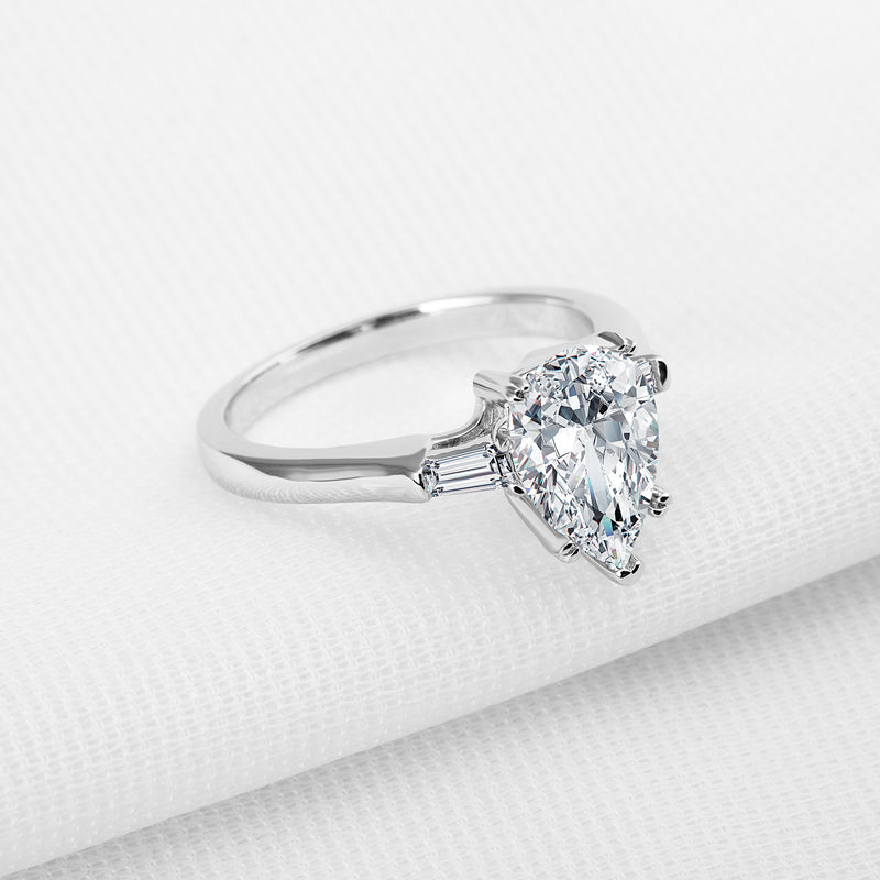 Pear Created White Diamond Ring