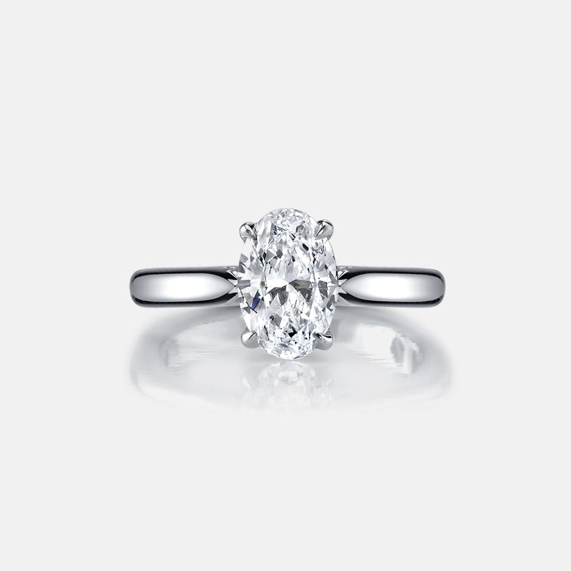 2 Carat Oval Cut Created Diamond Solitaire Ring