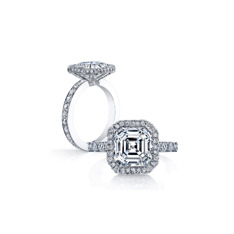 Halo Asscher Cut Created White Diamond Ring