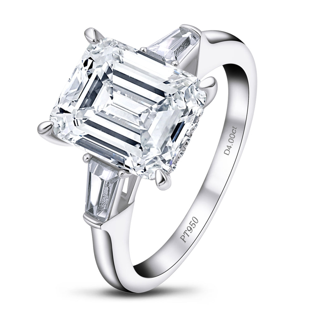 Emerald Cut Created White Diamond 3-Stone Ring