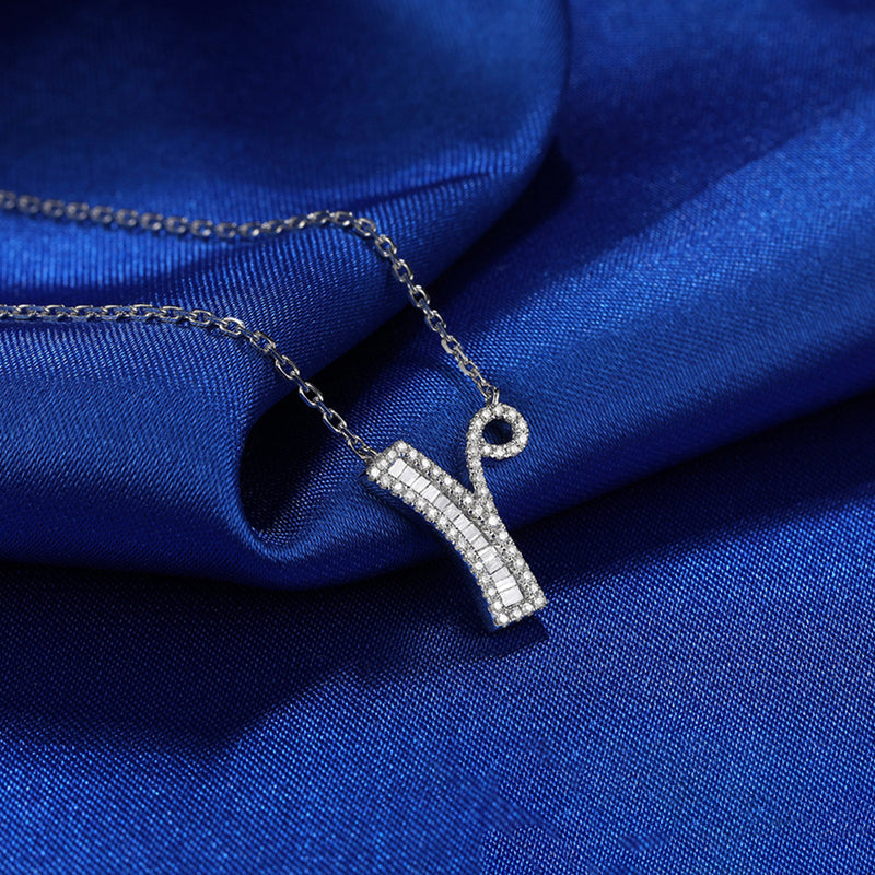 Letter Y Created White Diamond Pendant Necklace