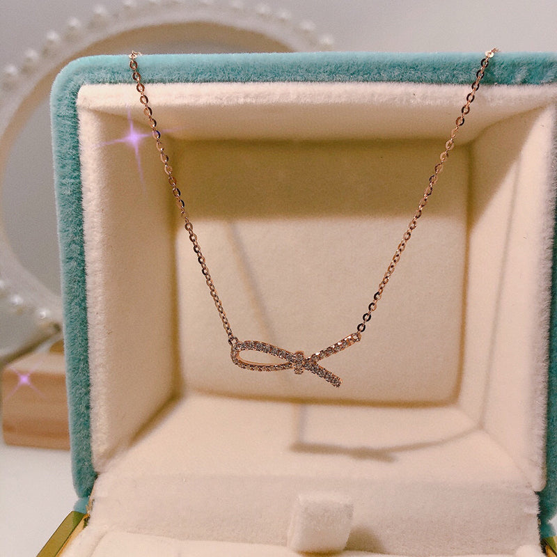 18K Gold 0.11ct Real Full Diamond Rope Knot Necklace