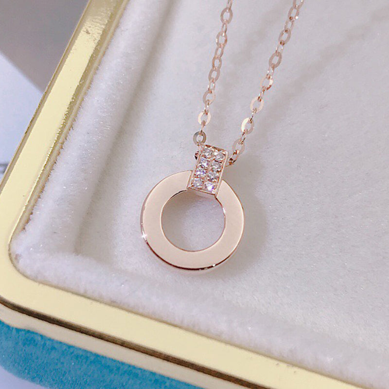 18K Gold 0.03ct Real Diamond Circle Simple Pendant Necklace