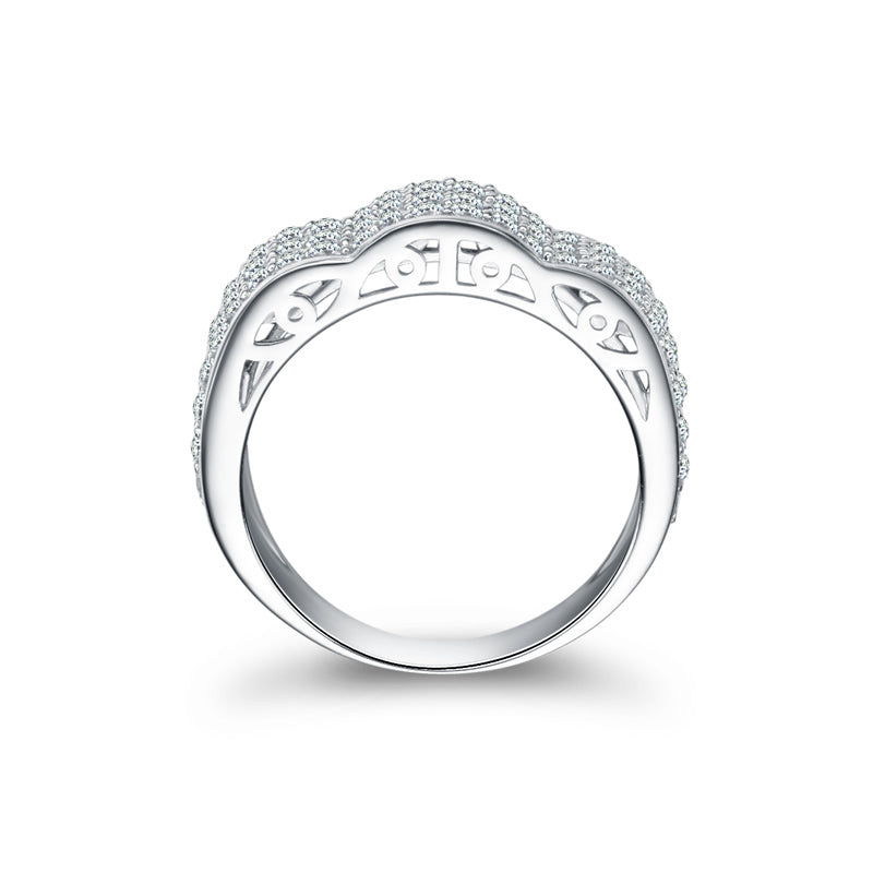 Three Rows Created White Diamond Half Eternity Male Ring