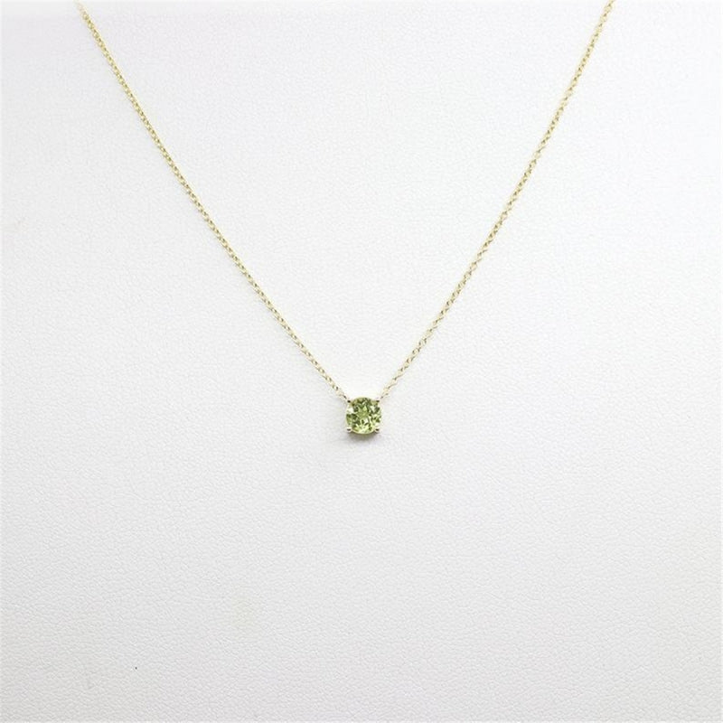 Natural Peridot Round Gemstone Pendant Necklace