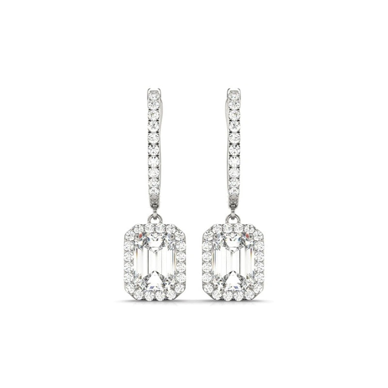 Halo Emerald Created White Diamond Drop Earrings