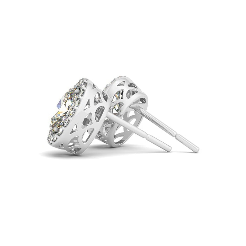 Halo Oval Created White Diamond Stud Earrings