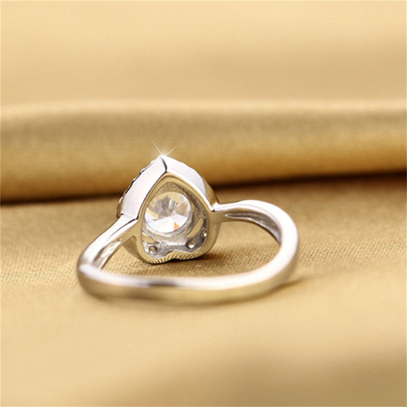 1.9CT Classic Sterling Silver Round Cut Created White Diamond Halo Ring