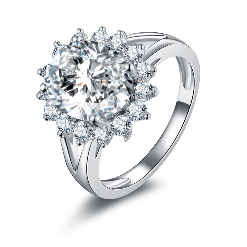 Oval Cut Sun Flower Shape Created Diamond Halo Ring