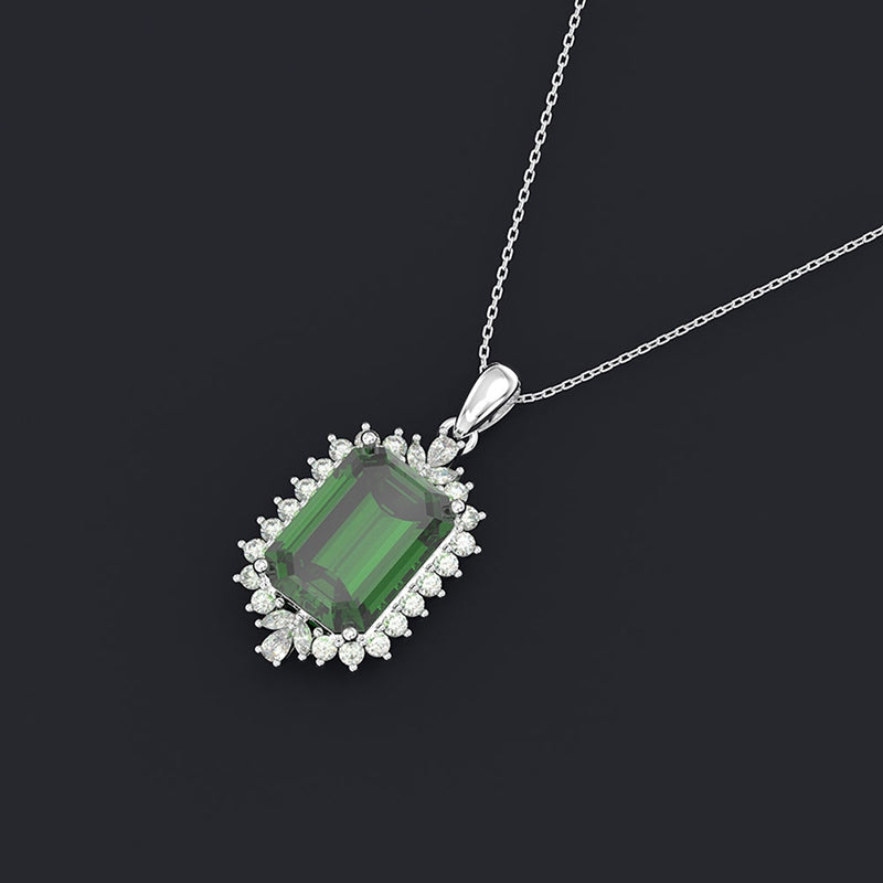 Rectangular Pendant Sterling Silver Green Created Sapphire Necklace