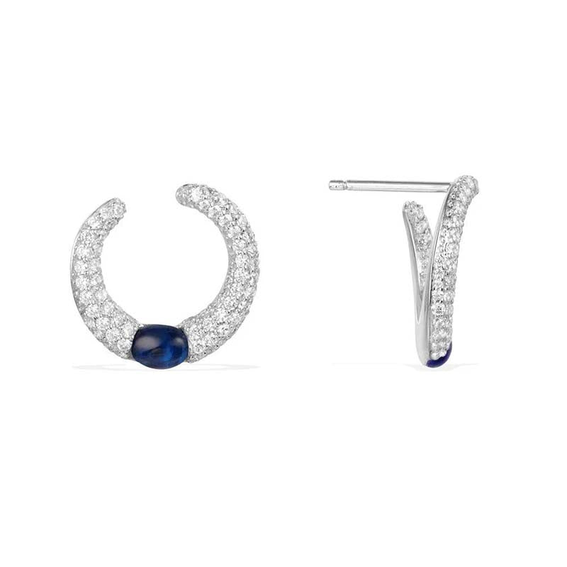 Sterling Silver Created Diamond Hoop Earrings