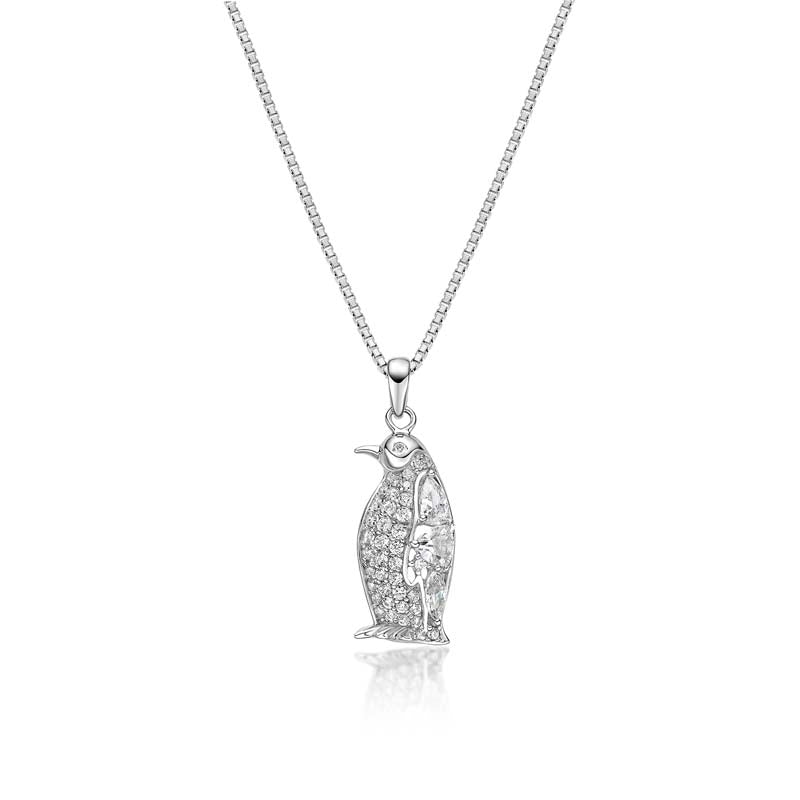 penguin Created White Diamond Pendant Necklace
