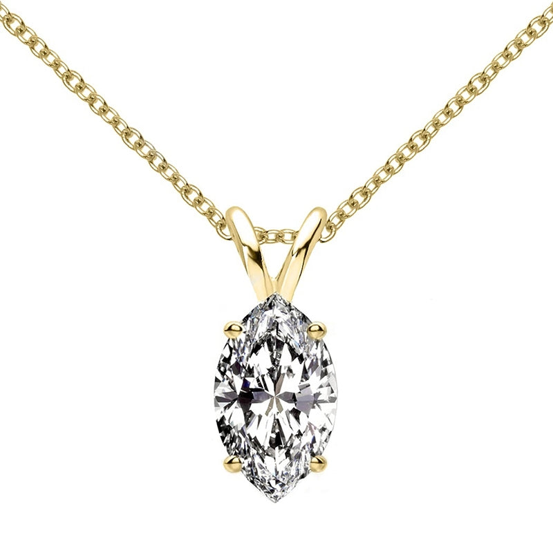 Sterling silver Marquise Cut Created White Diamond Pendant Necklace