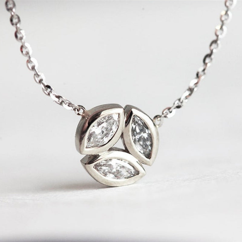 Three Marquise Created White Diamond Pendant Necklace