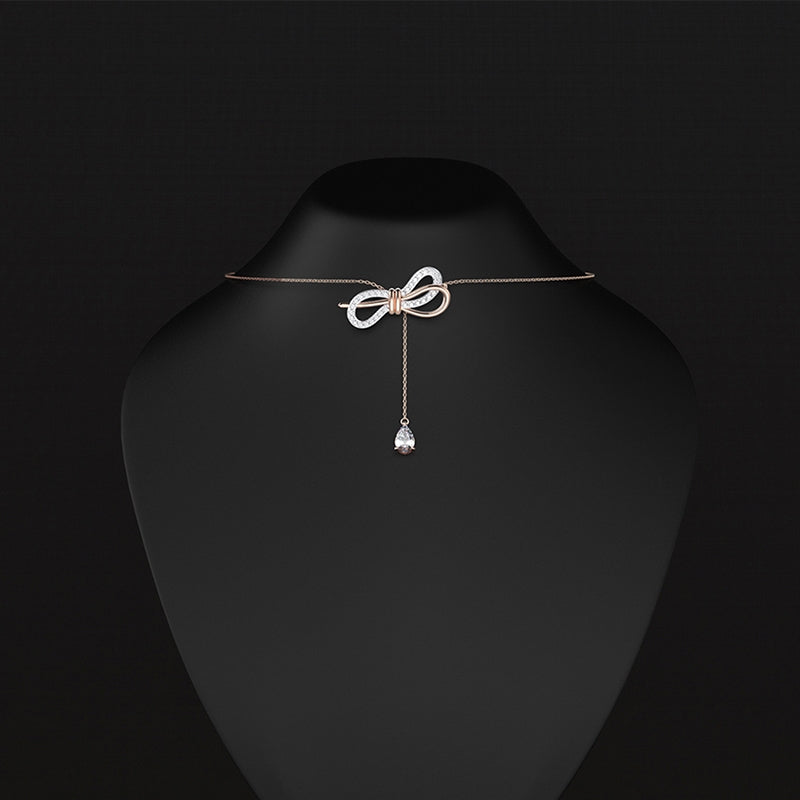 Bow Drop Pendant Sterling Silver Created White Diamond Necklace