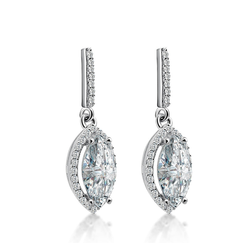 Marquise Cut Created Diamond Halo Drop Earrings