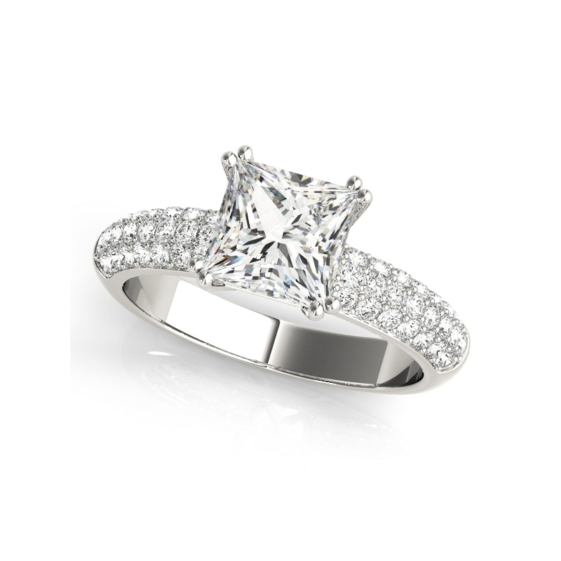 Triple Row Princess Created White Diamond Ring Bridal Set