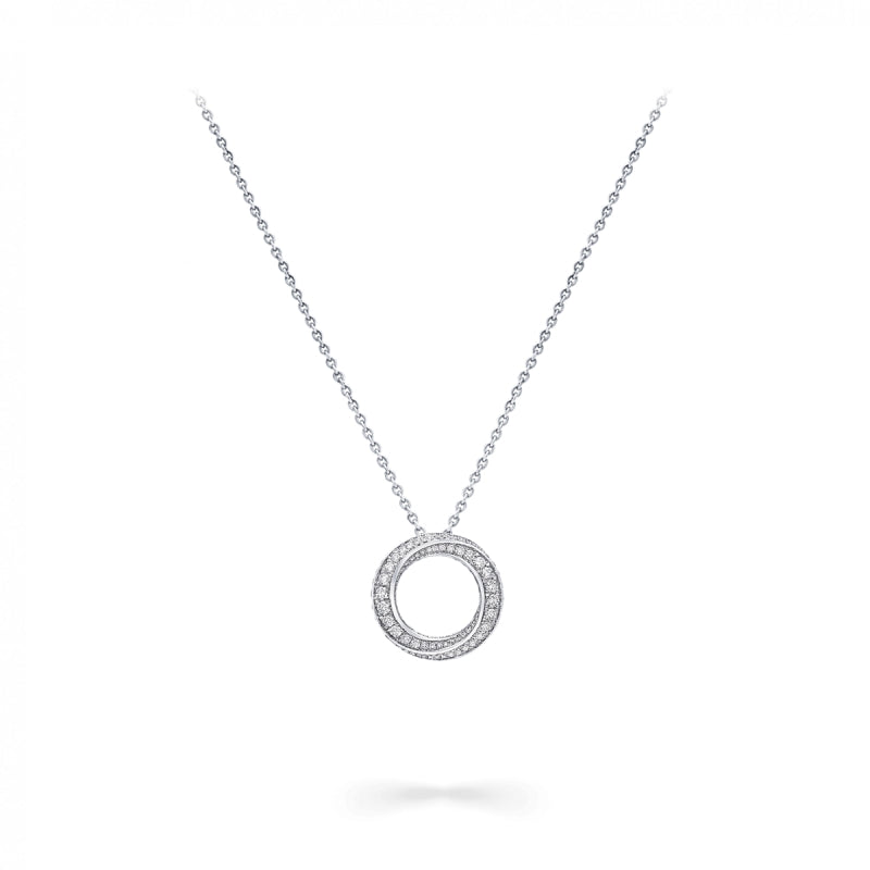 Round Circle White Created Diamond Spiral Pendant Necklace