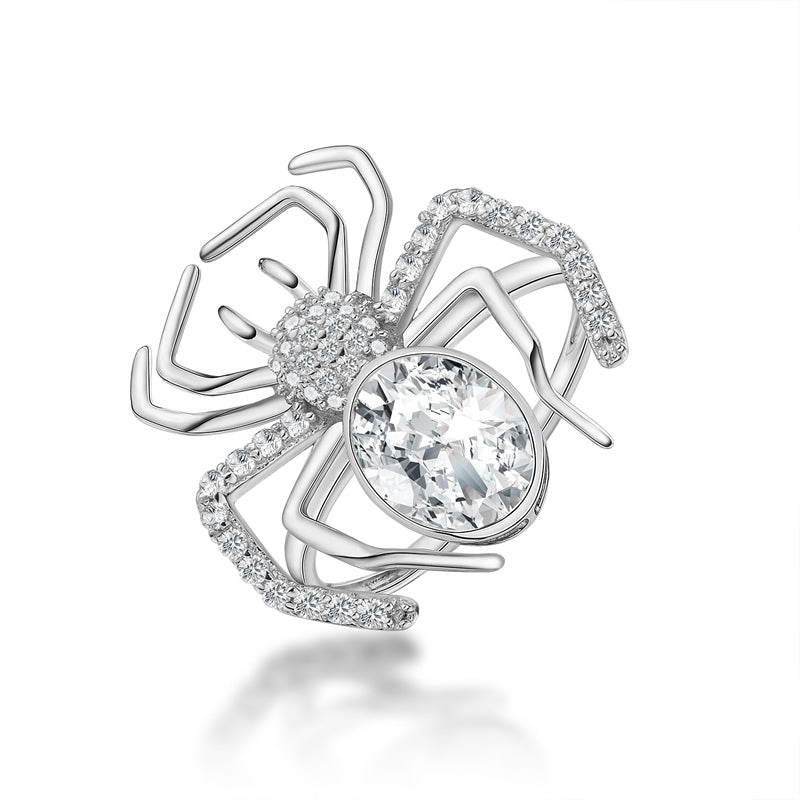 Spider Design Created White Diamond Animal Ring