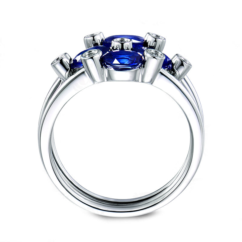 3PCS Blue Oval Created Sapphire Bridal Ring Set
