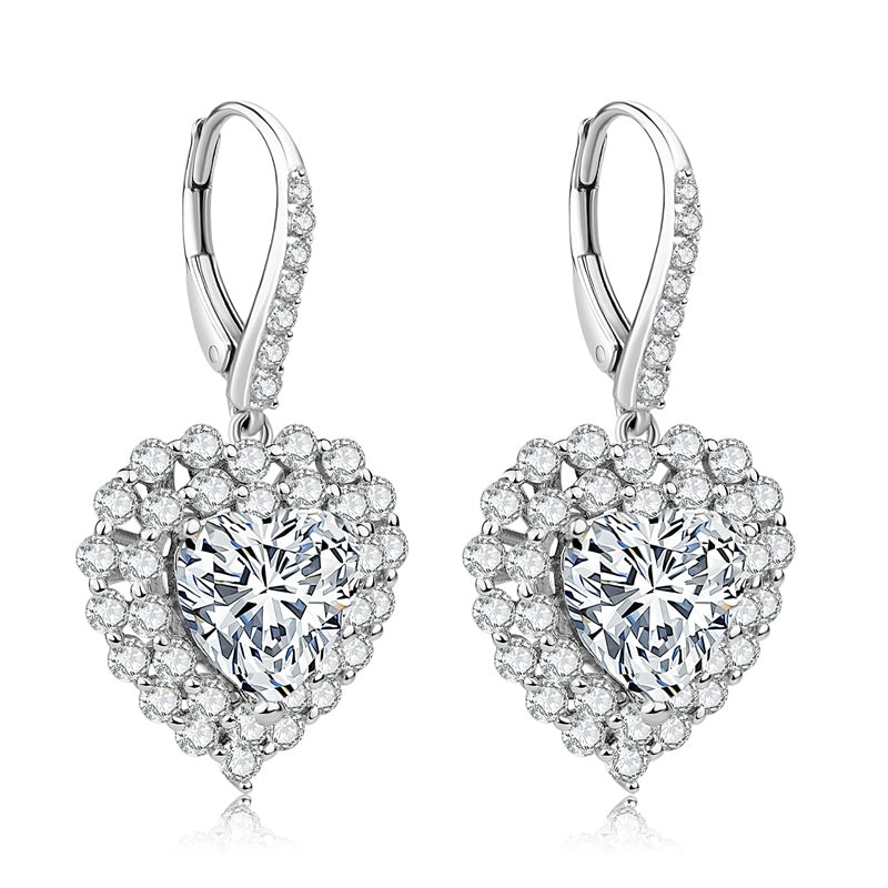 Heart Cut Halo Sterling Silver Created White Diamond Leverback Drop Earring