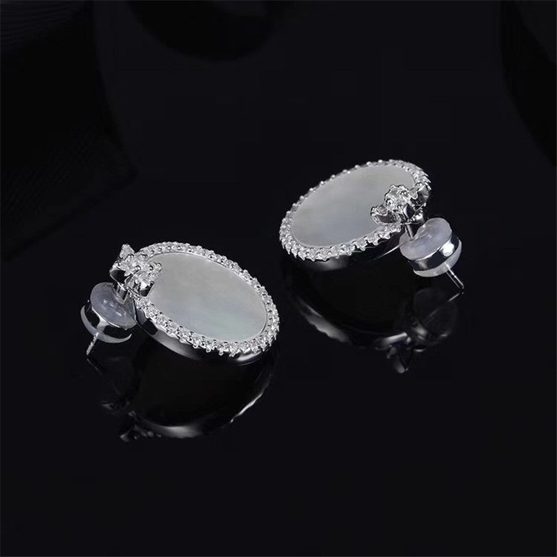 Sterling Silver Created White Diamond Stud Earrings
