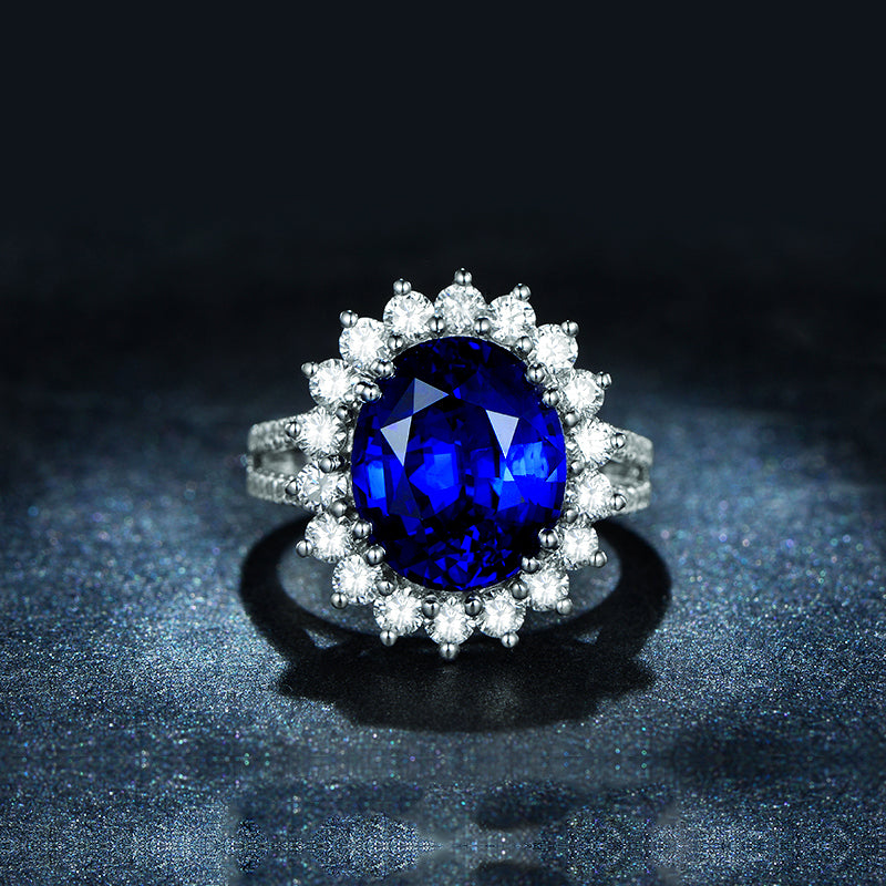 5 Carat Round Sterling Silver Blue Created Diamond Halo Bridal Ring