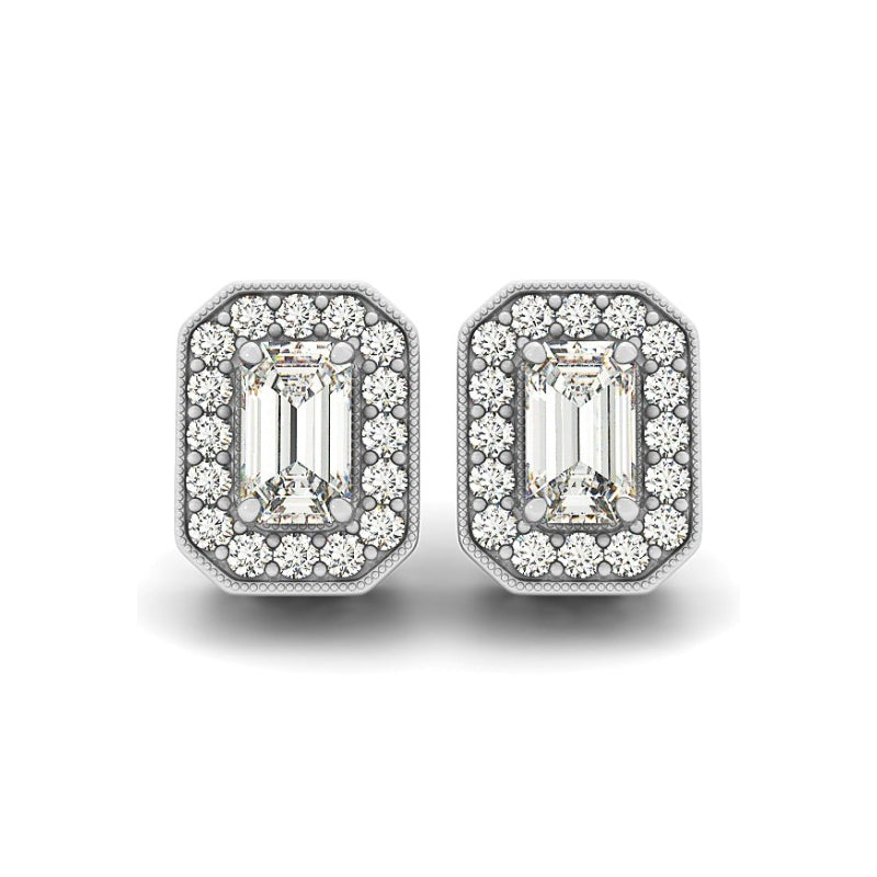 Halo Emerald Created White Diamond Stud Earrings