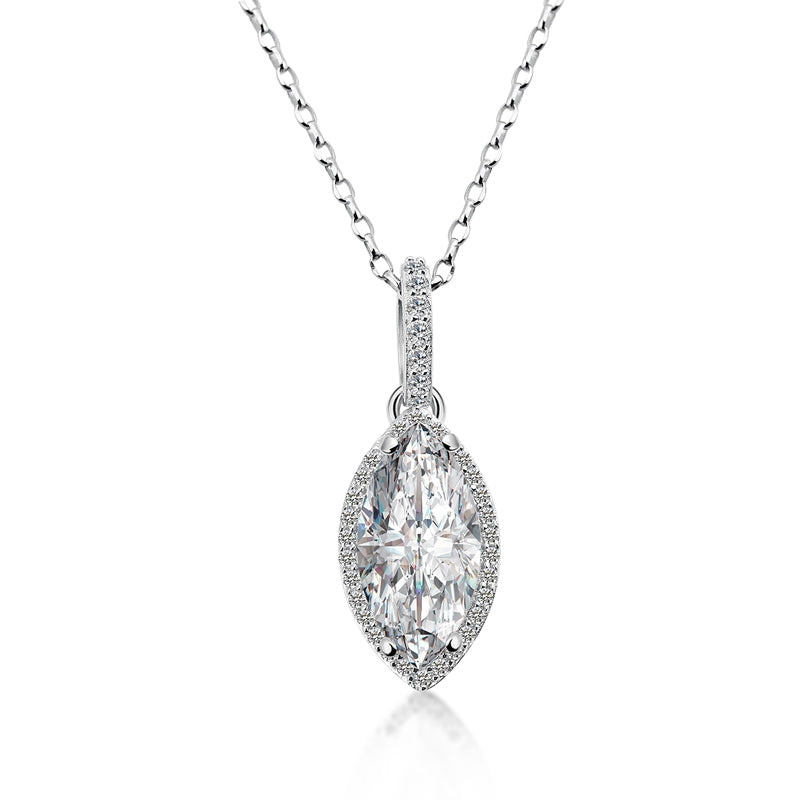 925 Sterling Silver Marquise Cut Created White Diamond Pendant Necklace