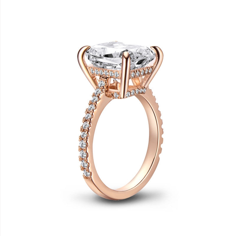 Rose Gold Cushion Cut Created White Diamond Ring