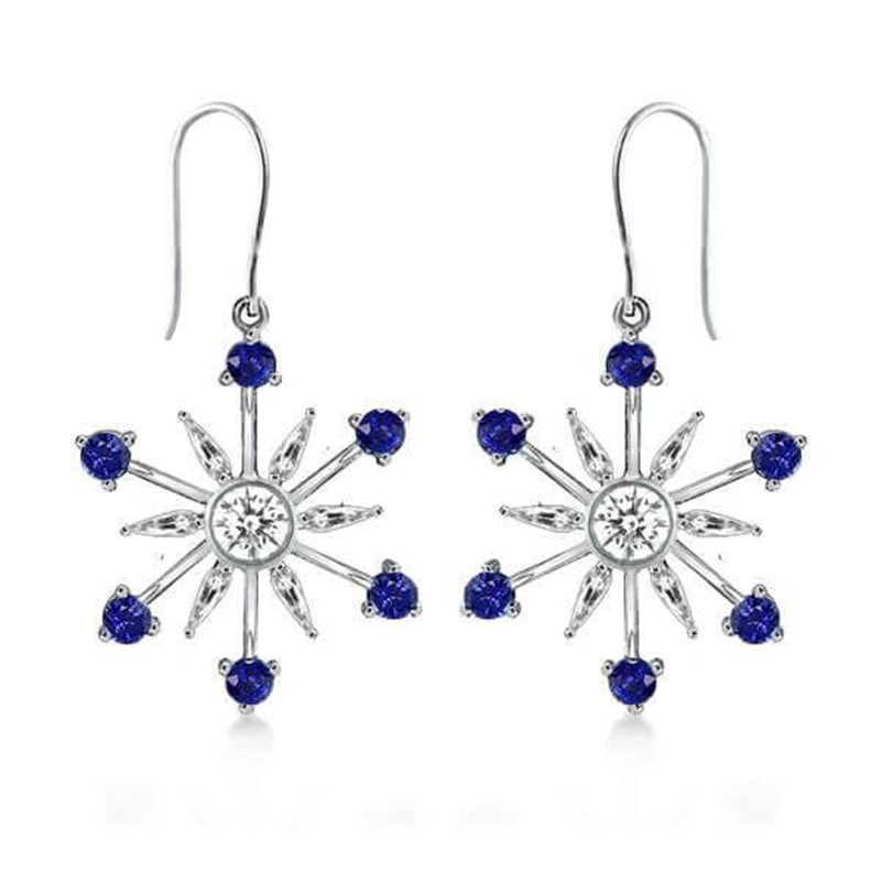 Classic Blue Created Diamond Snowflake Drop Earrings