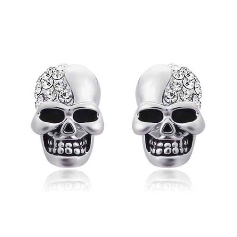 Vintage Skull Design Created White  Diamond Stud Earrings