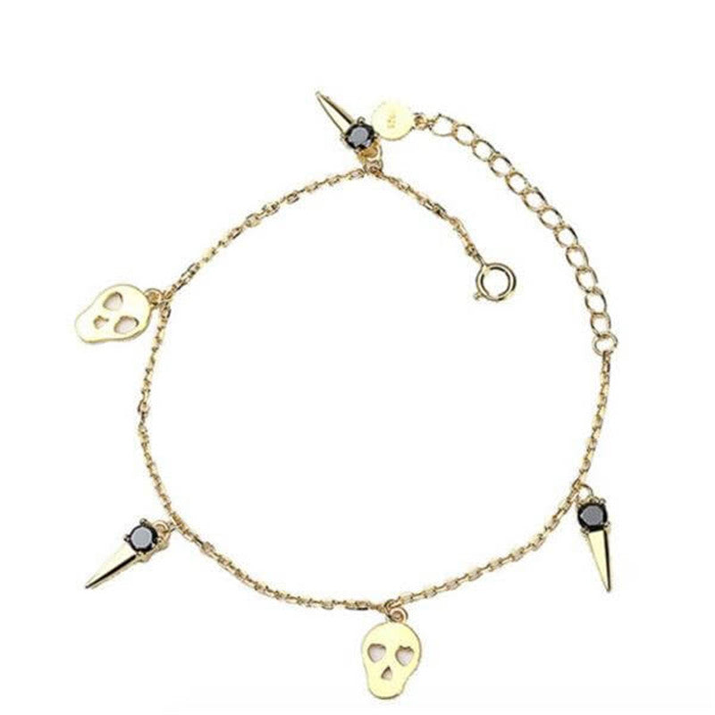 Golden Sipmle Skull Design Round Cut Black Bracelet