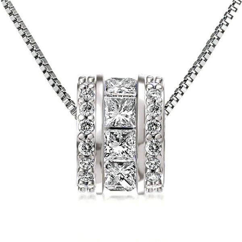 Princess & Round Created White Diamond Pendant Necklace