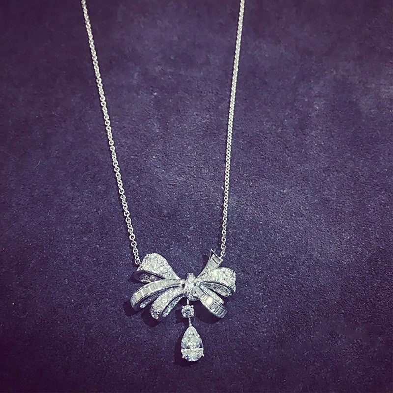 Water Drop Bow Pendant Necklace
