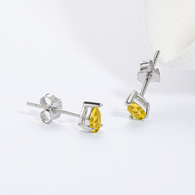 Mini 3x5mm Yellow Pear Cut Citrine Stud Earrings