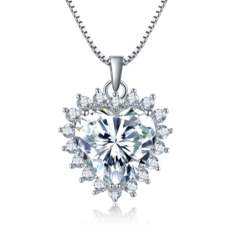 Heart Shaped 925 Sterling Silver Created White Diamond Pendant Necklace