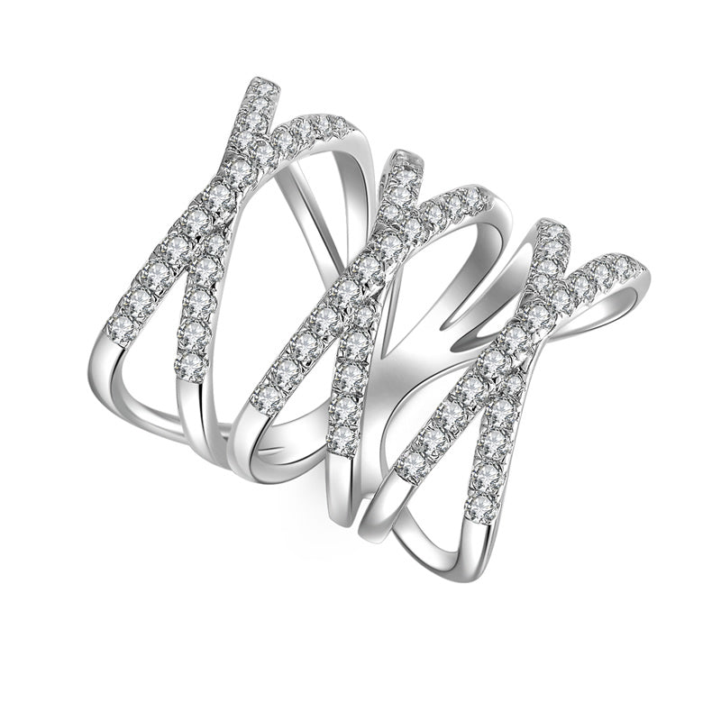 Triple X Letter Design Created White Diamond Ring