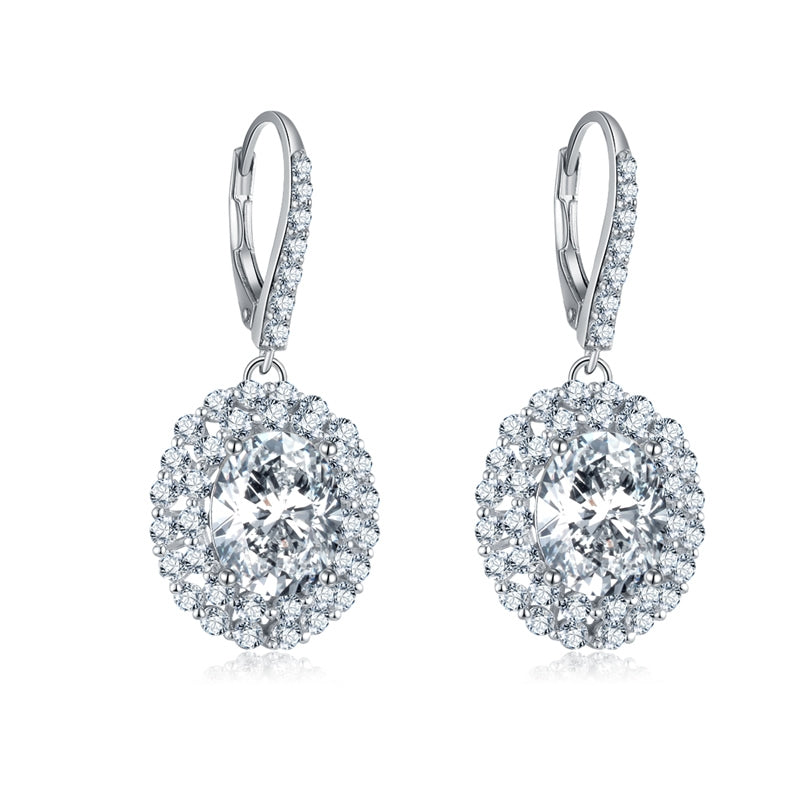 4ct Round Halo Sterling Silver Created White Diamond Drop Earring