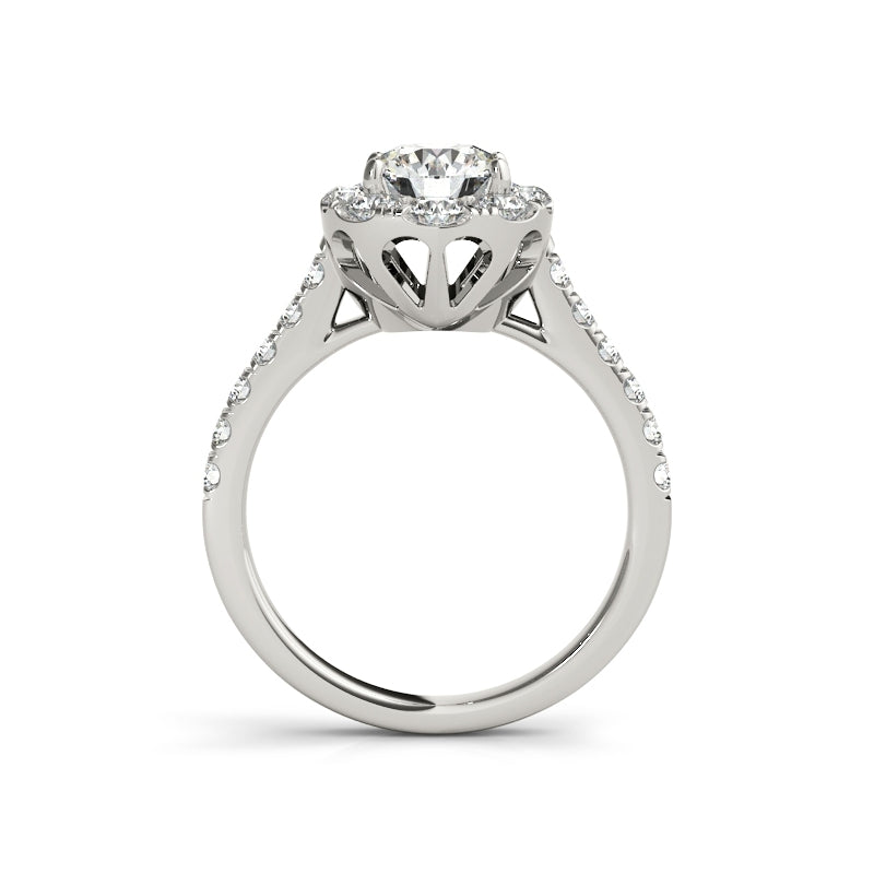 Halo Round Created White Diamond Ring Bridal Set