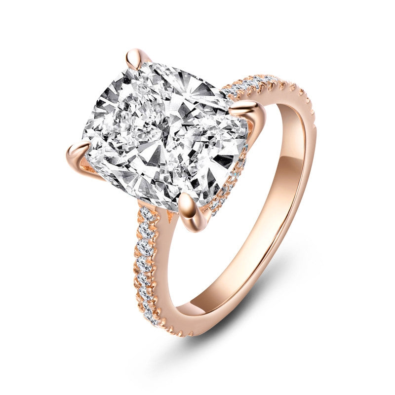 Rose Gold Cushion Created White Diamond Halo Ring