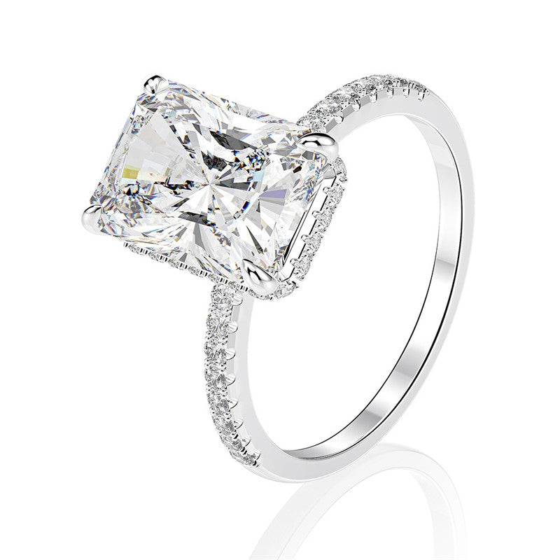 Radiant Cut Created White Diamond Solitaire Ring
