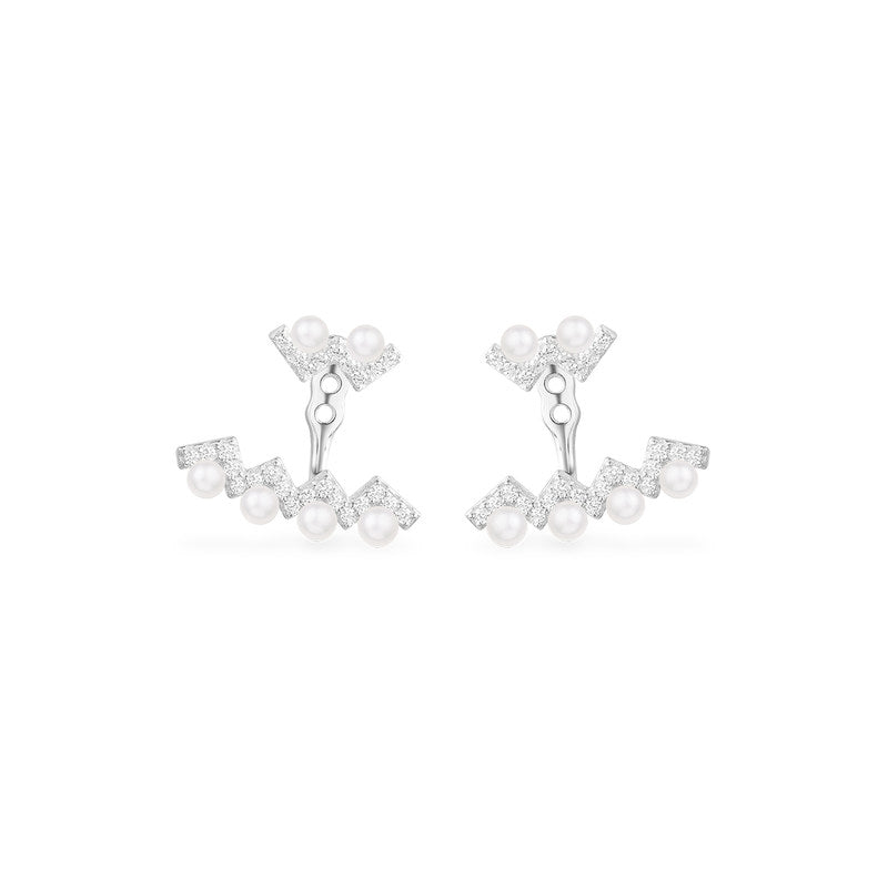 Sterling Silver Created White Diamond Pearl Earrings