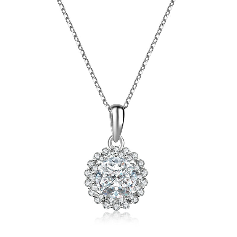 925 Sterling Silver Round Cut Created White Diamond Pendant Necklace
