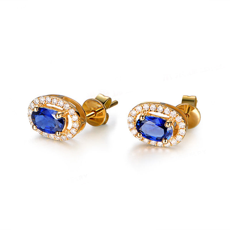 Royal Sterling Silver Round Blue Created Diamond Stud Earrings