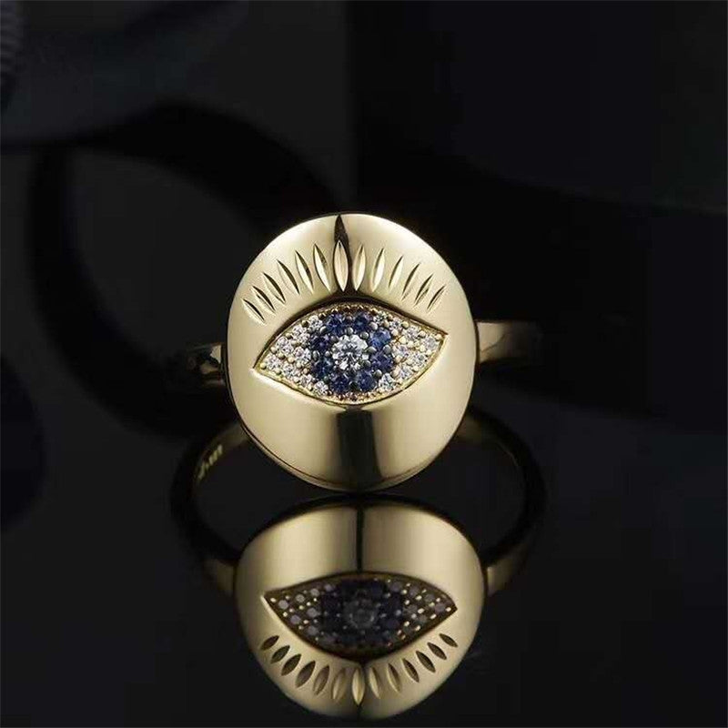 S925 Sterling Silver Yellow Gold Plated Evil Eye Ring