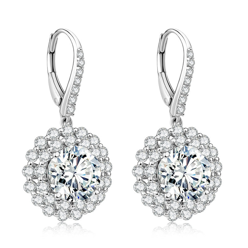 Round Shape Created Diamond Drop Hook Earrings